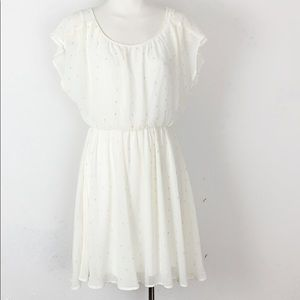 Lush Cream and Gold Blouson Dress with Swing Skirt